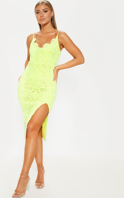 ad4cedb3c05 Light Lime Lace Scallop Bodycon Midi Dress