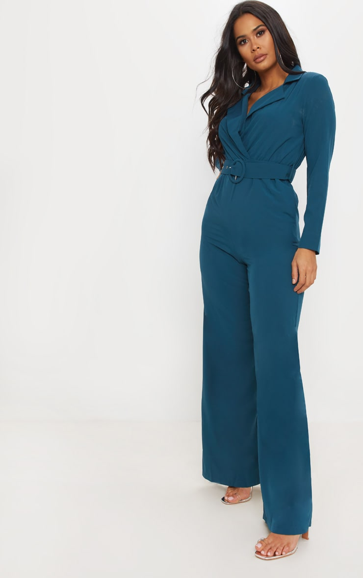 Teal Belt Detail Wide Leg Jumpsuit 4