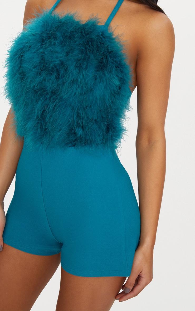 Teal Faux Fur Front Playsuit 5
