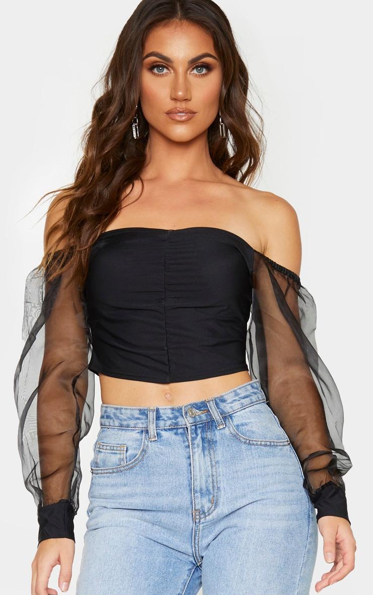 Black Slinky Sheer Organza Puff Sleeve Bardot Crop Top 1