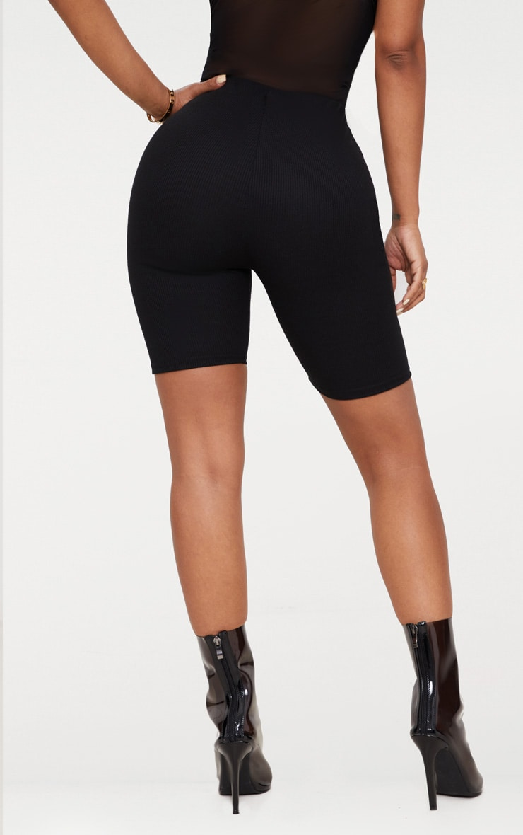 Shape Black Ribbed Cycling Shorts 4