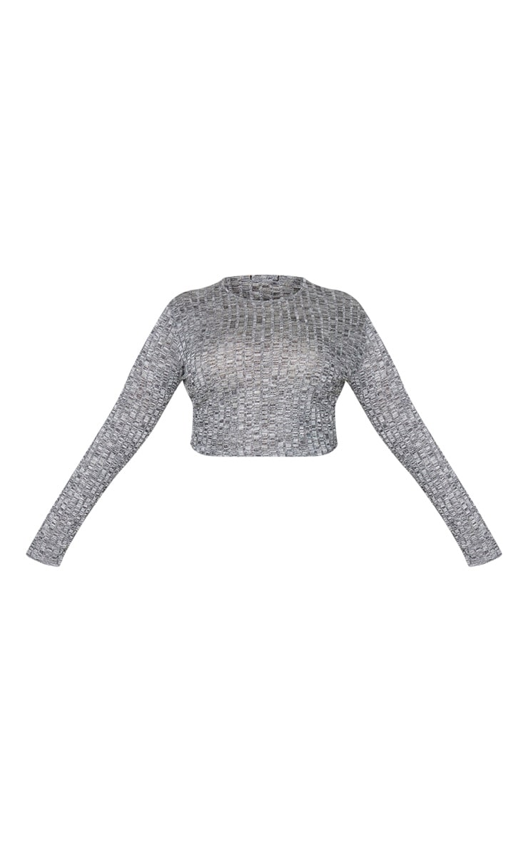 Plus Grey Knitted Rib Long Sleeve Crop Top 5