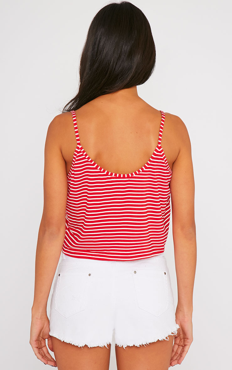 Edith Red Stripe Crop Top 2
