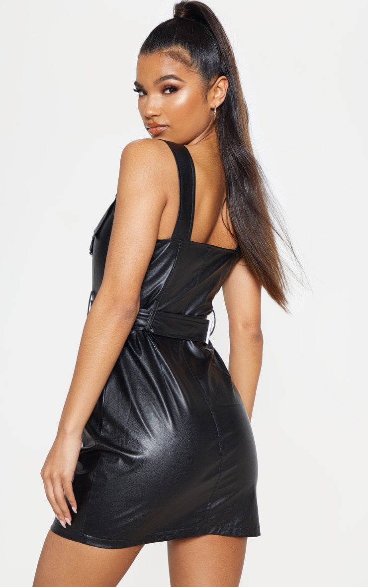 Black Faux Leather Buckle Detail Bodycon Dress 2