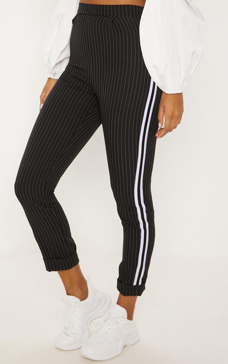 Black Pinstripe Tapered Side Stripe Turn Up Hem Trouser 2