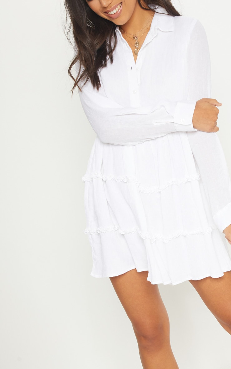 White Shirt Layer Frill Dress 5