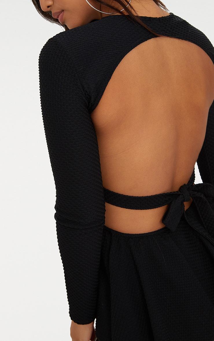 Black Crinkle Open Back Longsleeve Peplum Top  5