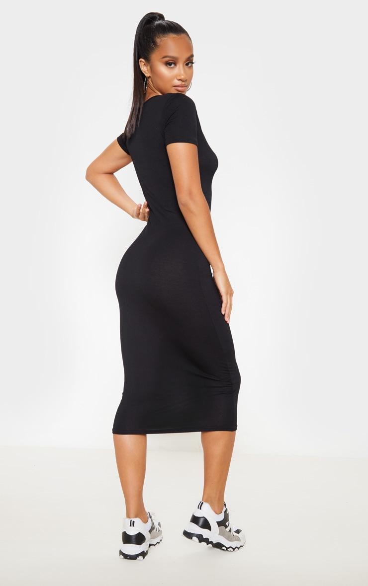 Petite Black V Neck Midi Bodycon Dress 2