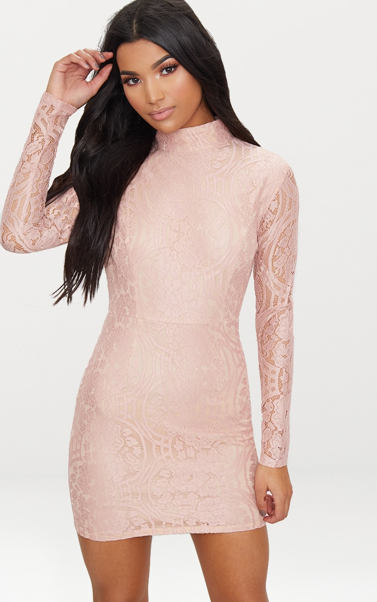 Dusty Pink High Neck Long Sleeve Lace Bodycon Dress  1