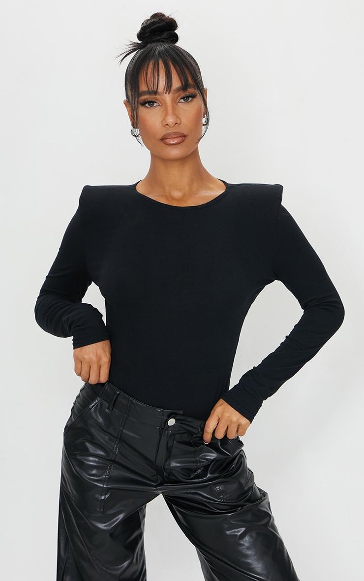 Black Cotton Mix Shoulder Pad Bodysuit 1