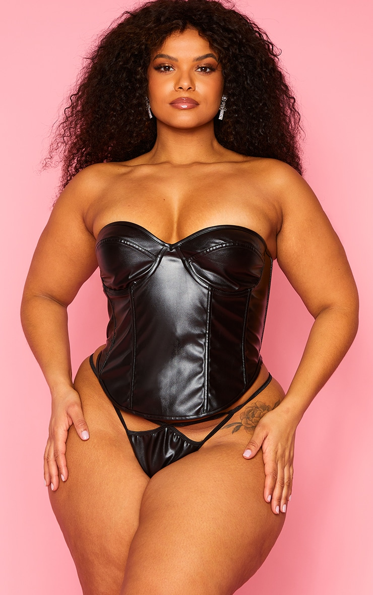 Plus Black Faux Leather Corset And Strappy Thong Set