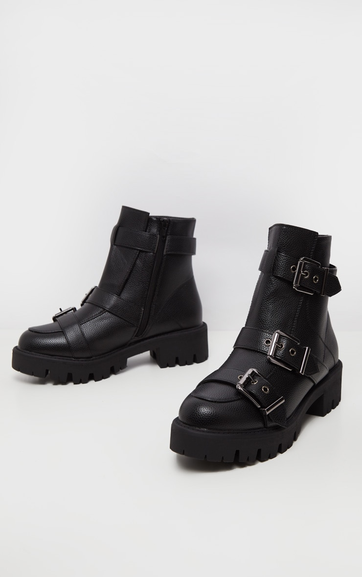Black Triple Buckle Cleated Hiker Ankle Boot 3