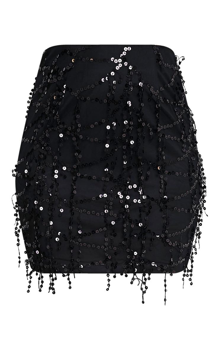 Black Sequin Detail Mini Skirt 3