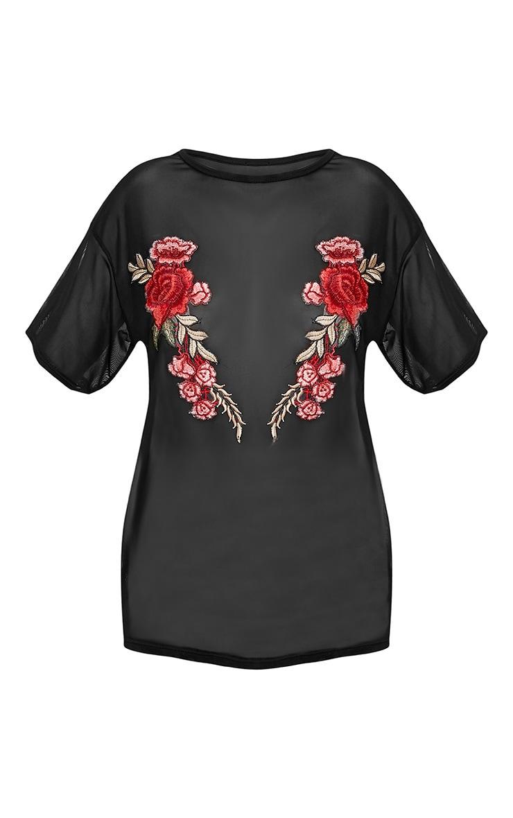 Sabrina Black Mesh Floral Applique T Shirt 3