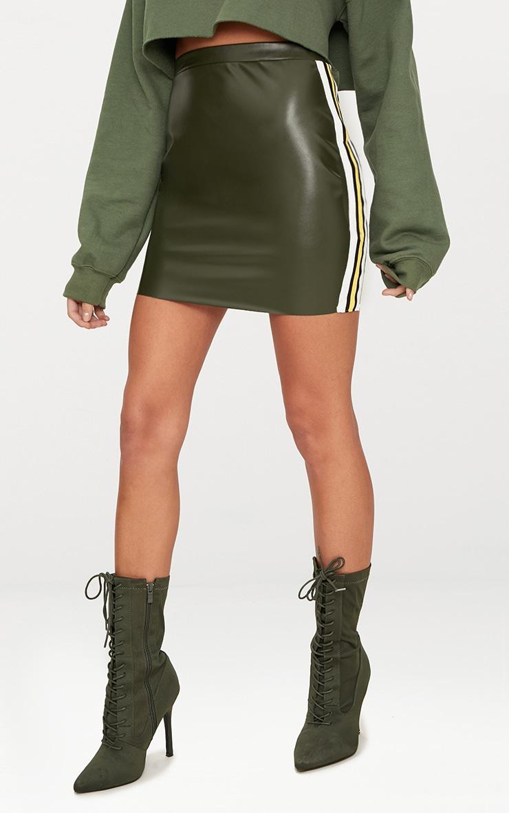 Khaki PU Track Stripe Mini Skirt  2