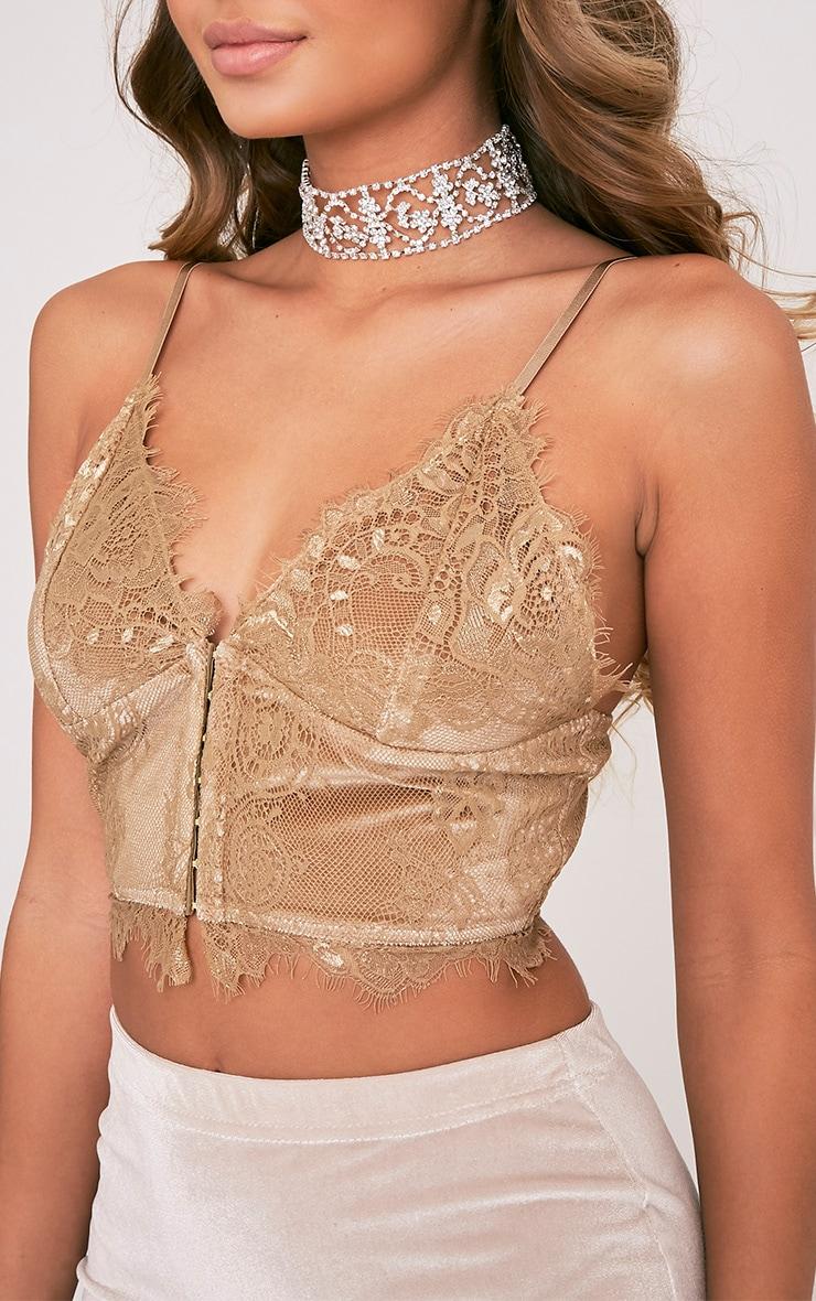 Hannah brassière corset en dentelle dorée 6