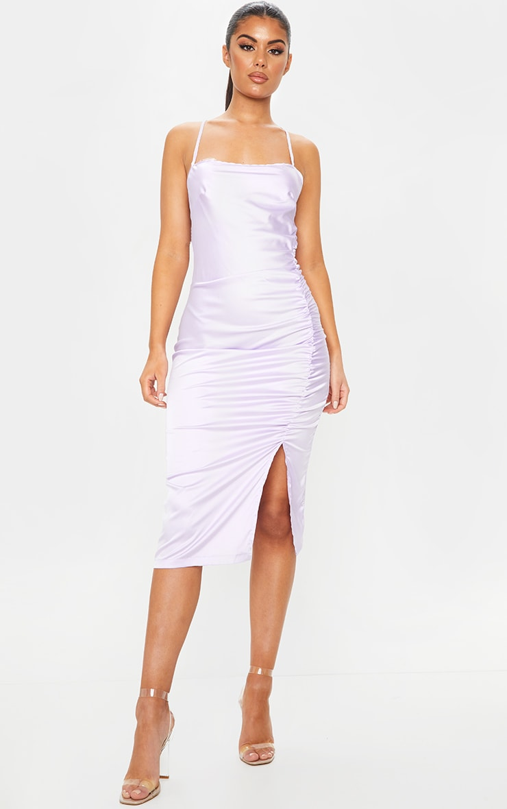 Lilac Satin Strappy Back Ruched Midi Dress 1