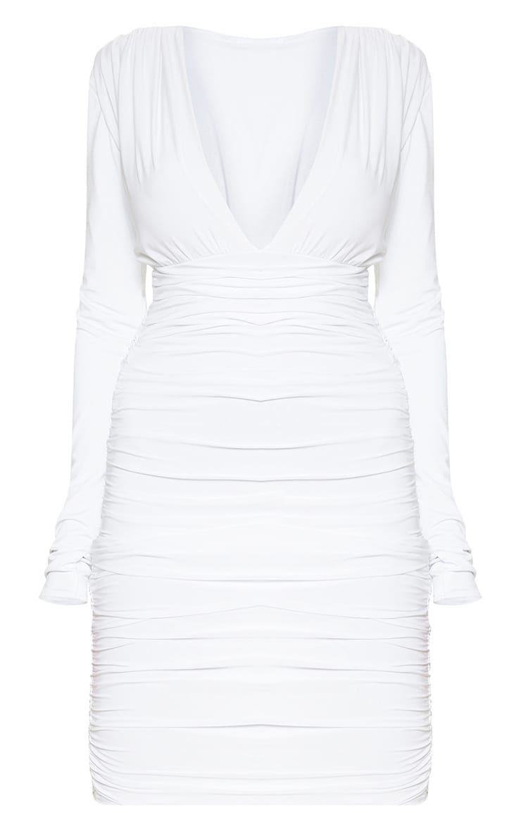 White Ruched Plunge Bodycon Dress 3