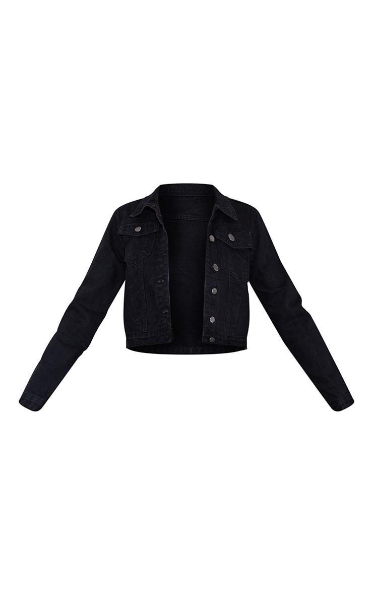 Black Crop Denim Jacket 5
