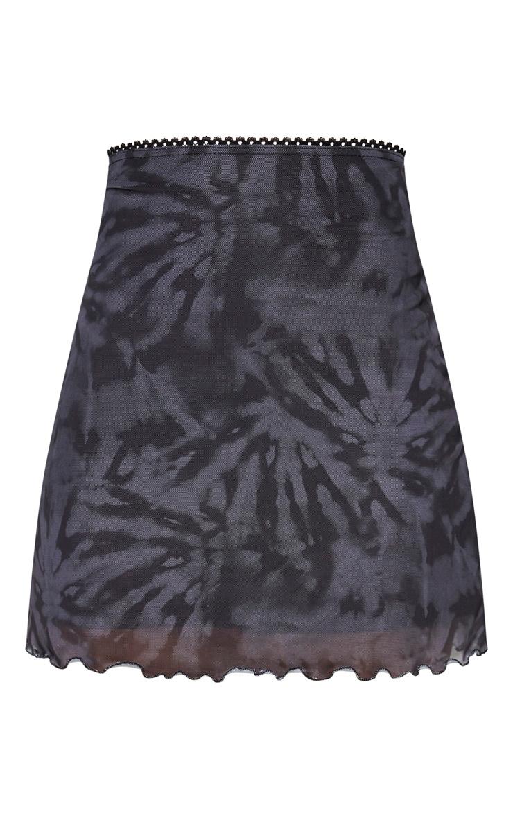 Black Tie Dye Mesh Lettuce Hem Mini Skirt 6