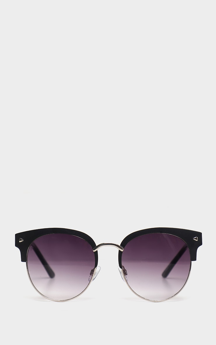 Black Frame Rounded Aviator Sunglasses 2