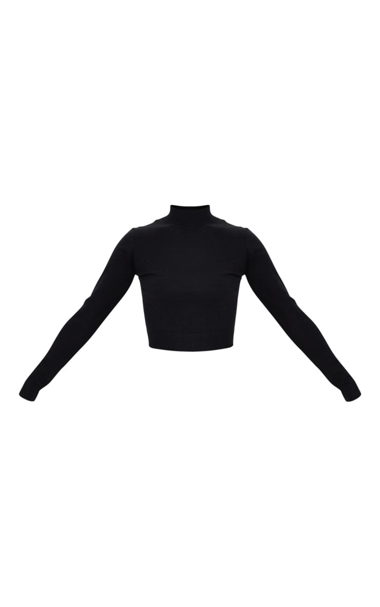PRETTYLITTLETHING Black Back Cropped Knitted Top 6