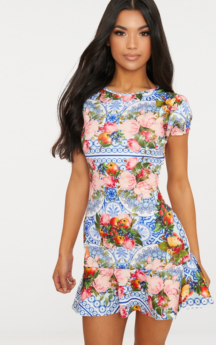 Blue Porcelain Fruit Print Puff Sleeve Drop Frill Hem Bodycon Dress 1