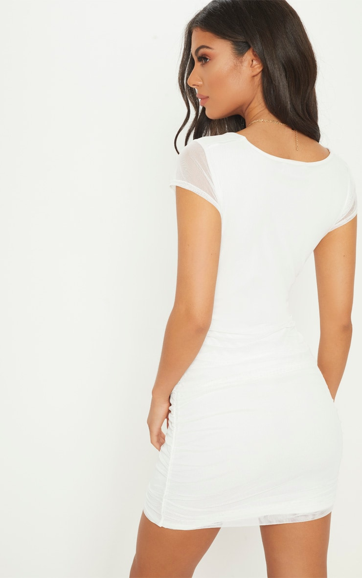 White Square Neck Mesh Ruched Cut Out Bodycon Dress 2