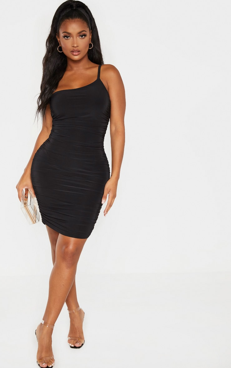 Shape Black Slinky Ruched Asymmetric Bodycon Dress 1