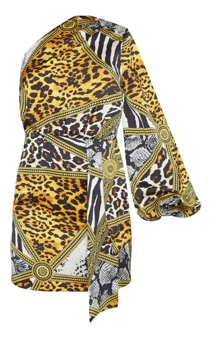 Multi Mixed Animal Print One Shoulder Drape Bodycon Dress 3