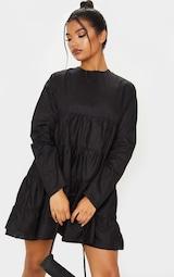Black Tiered Long Sleeve Crew Neck Smock Dress 4