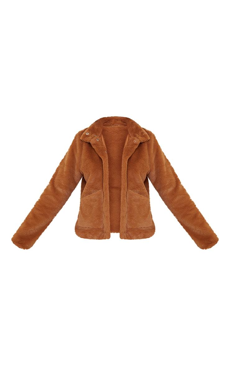 Veste en fausse fourrure marron à poches 5