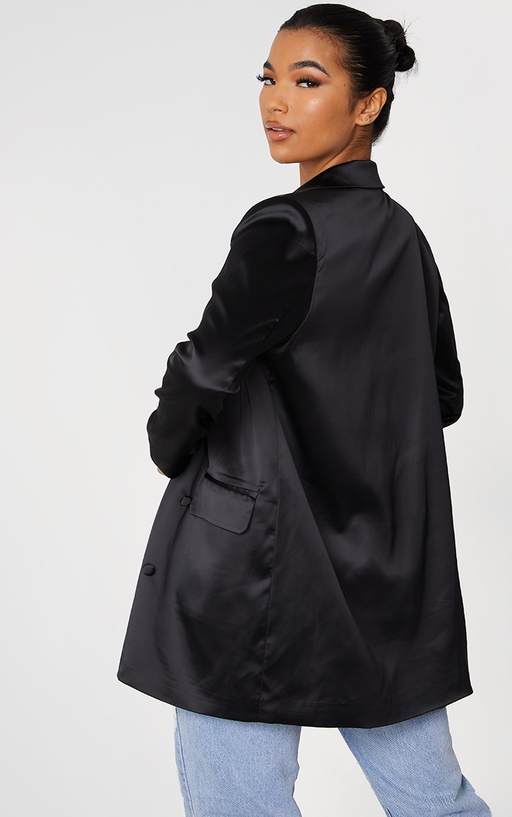 Black Satin Oversized Double Breasted Covered Button Blazer 2