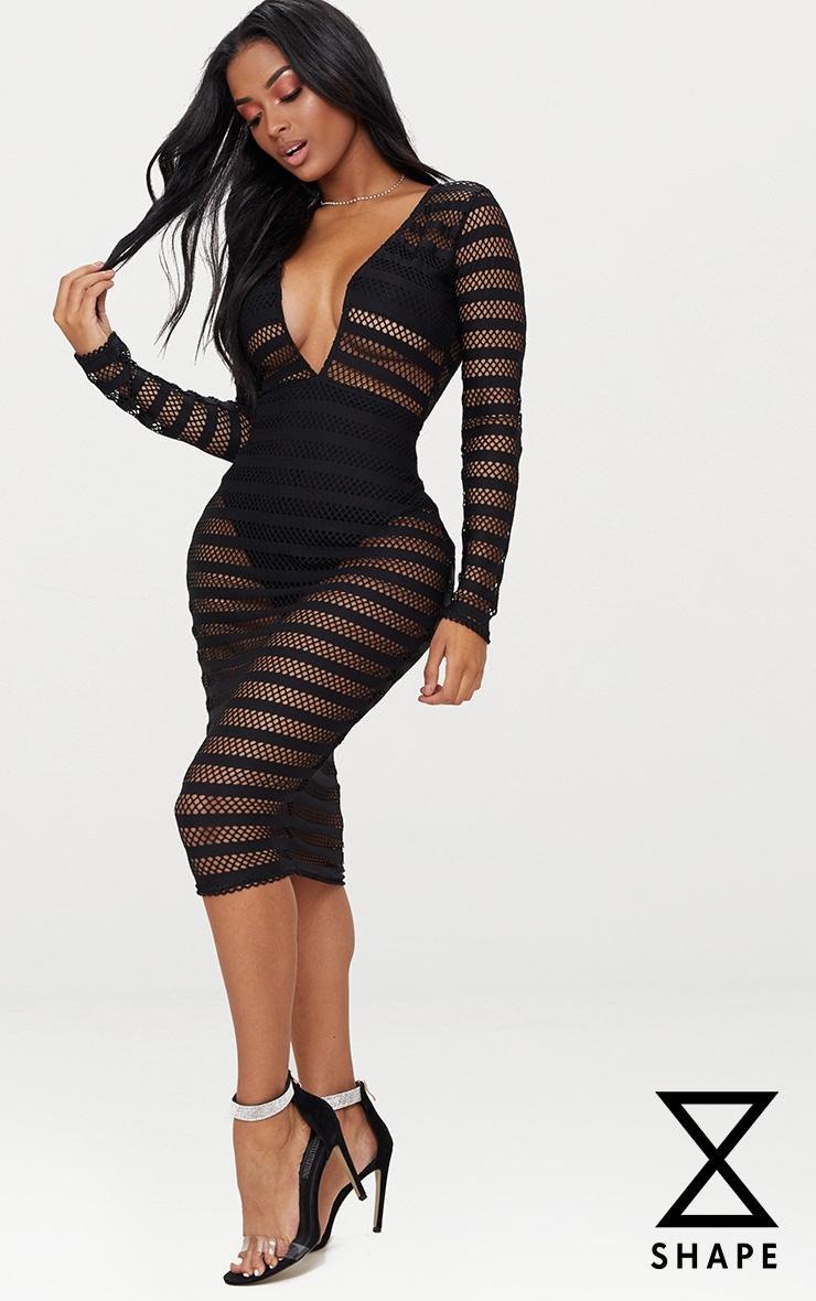 Shape  Black Sheer Plunge Midi Dress 1