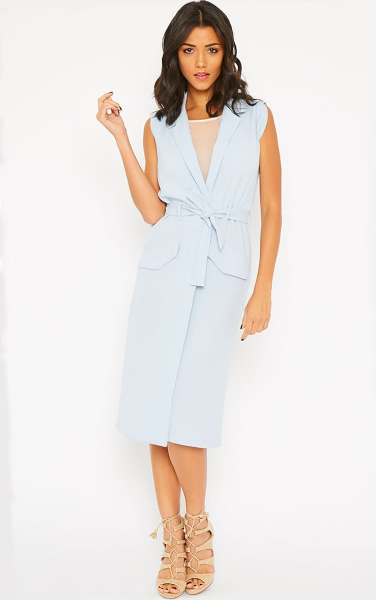 Phaedra Powder Blue Crepe Longline Sleeveless Trench 1