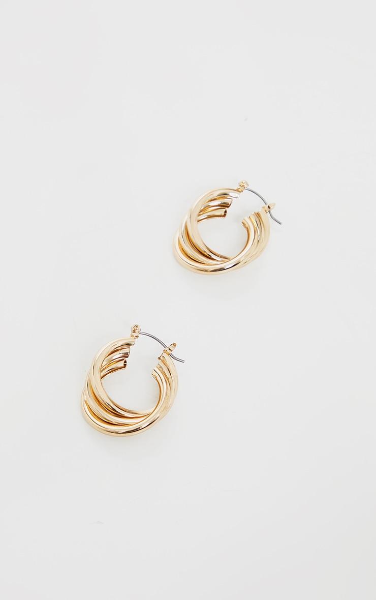 Gold Triple Twist Hoop Earrings 3