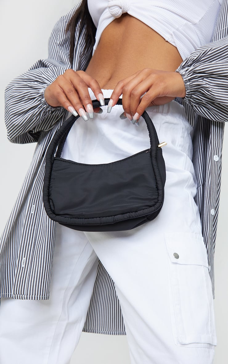 Black Nylon Double Strap Mini Shoulder Bag 1