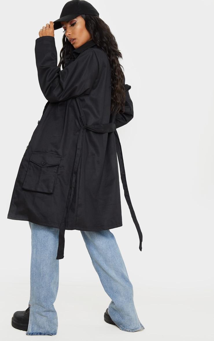 Black Pocket Detail Trench Coat 2