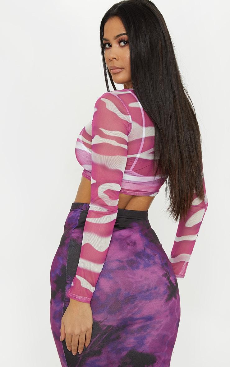 Purple Printed Mesh Long Sleeve Crop Top 2
