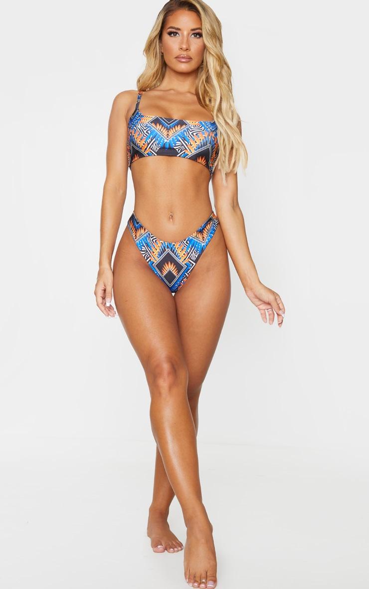 Blue Tribal Super High Leg Brazilian Bikini Bottom 4