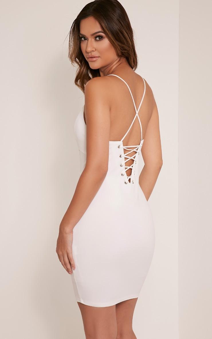 Mellia Cream Plunge Bodycon Dress 1