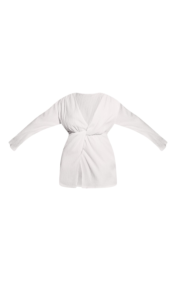 Plus White Muslin Drape Detail Dress 6