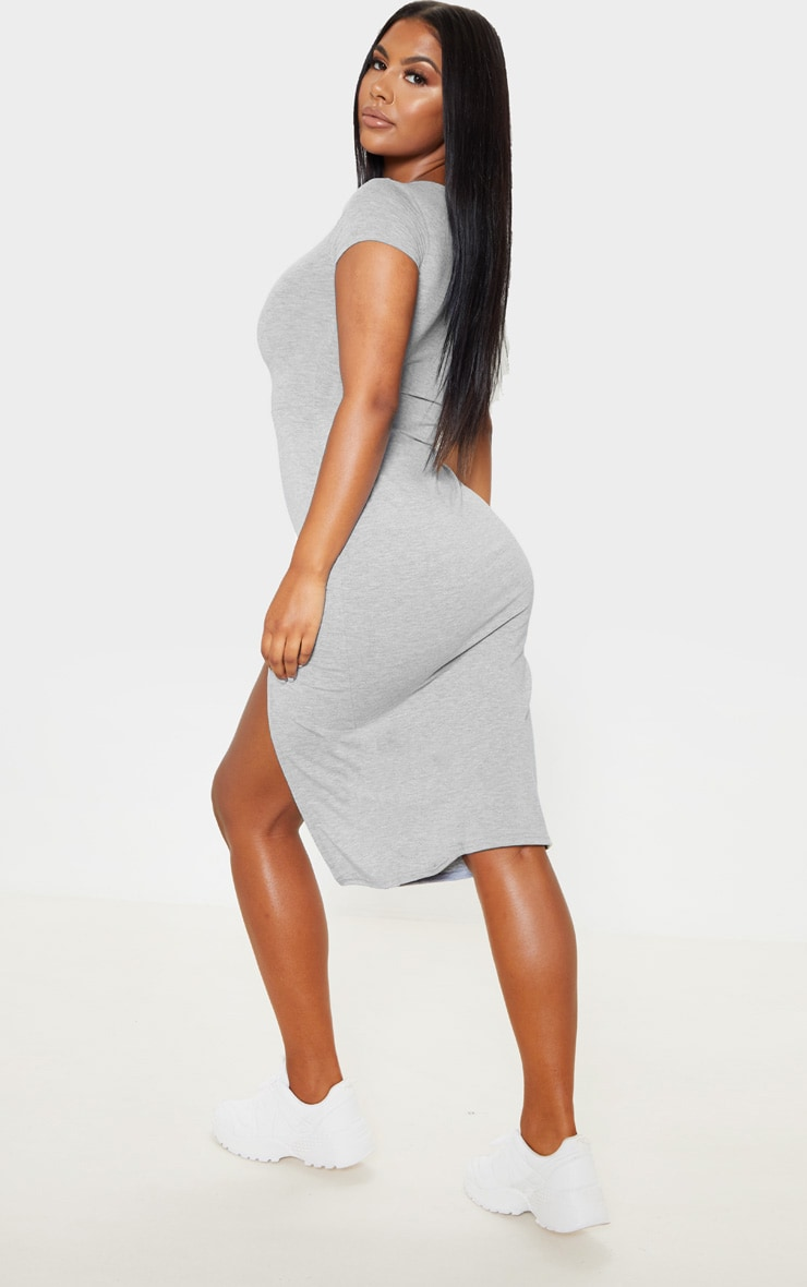 Grey Crew Neck Short Sleeve Split Midi Dress 2