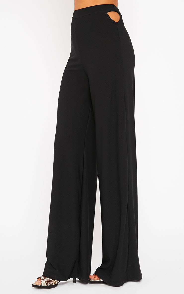 Elphina Black Cut Out Palazzo Trousers 3
