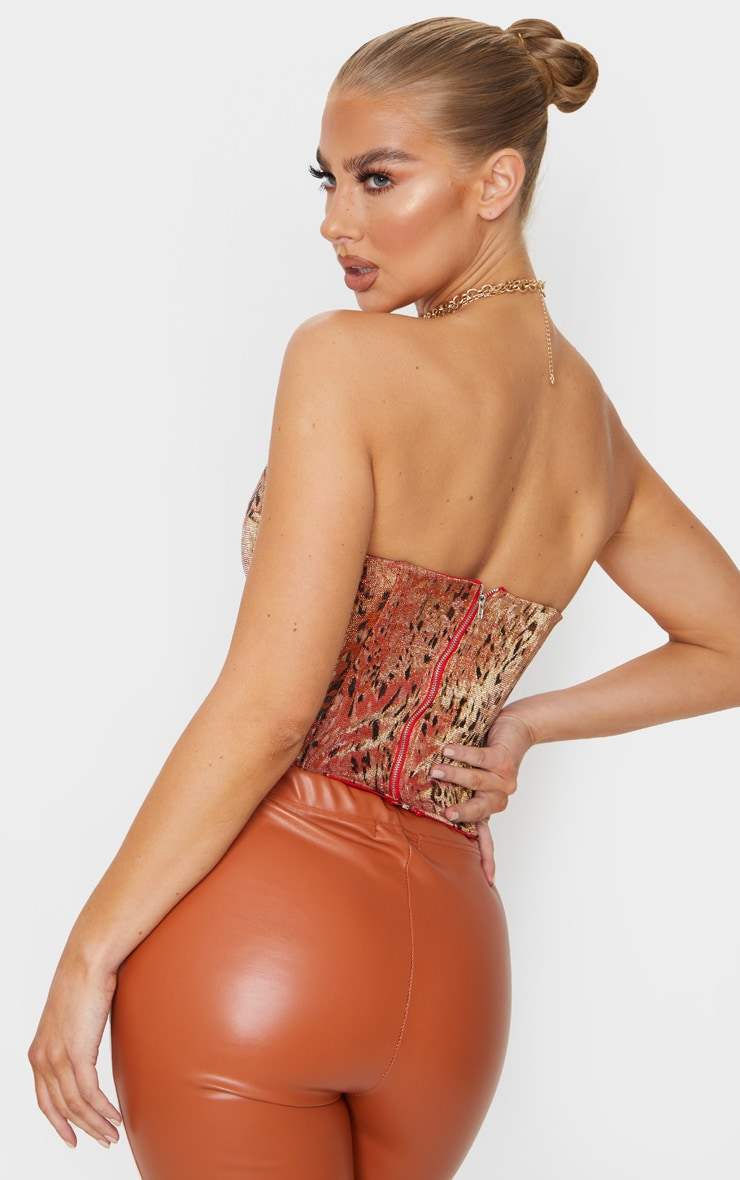 Orange Woven Metallic Leopard Print Pointed Edge Corset Top 2