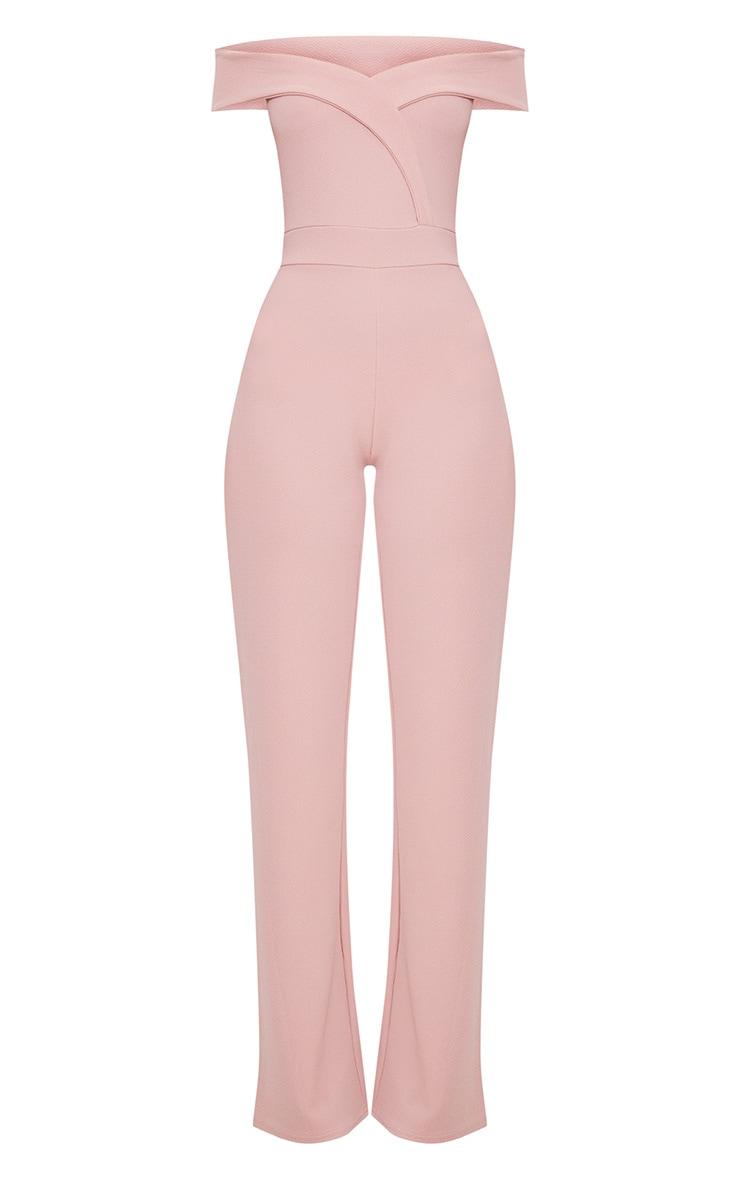 Pink Crepe Bardot Folded Detail Jumpsuit 3