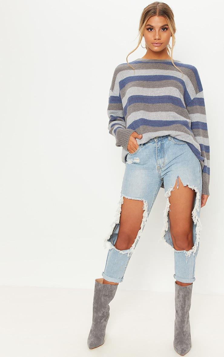 Charcoal Oversized Stripe Jumper