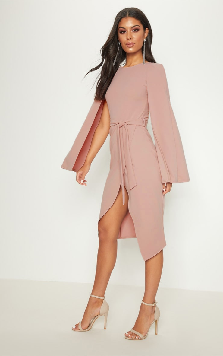 Dusty Pink Cape Style Wrap Midi Dress 3