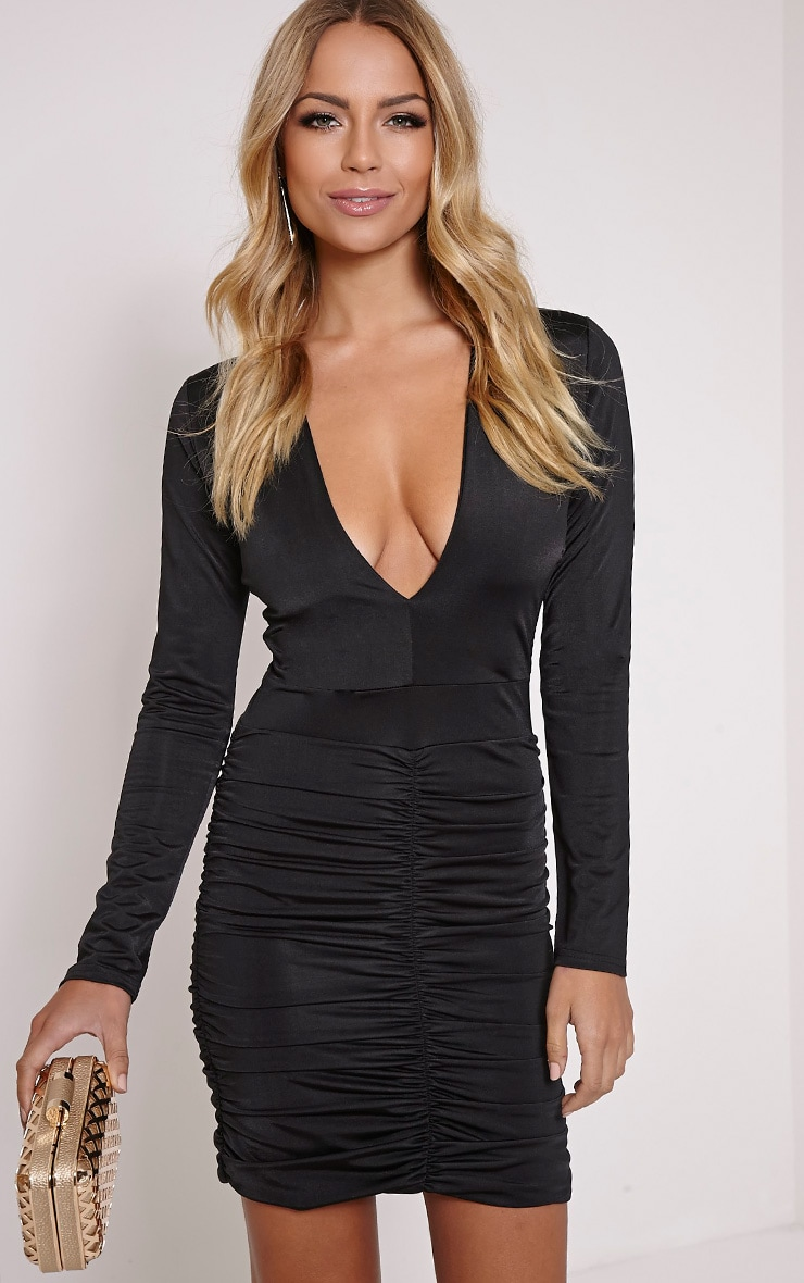 Alana Black Plunge Ruched Bodycon Dress 1