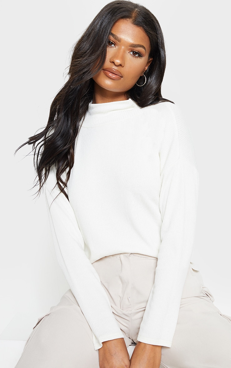 White Brushed Rib High Neck Long Sleeve Top 1